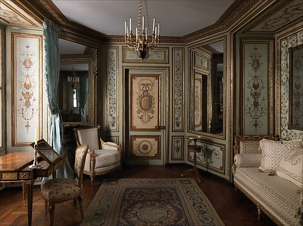 Pierre-Adrien Paris (1747–1819). Boudoir from the Hôtel de Crillon, ca. 1777–80. The Metropolitan Museum of Art, New York. Gift of Susan Dwight Bliss, 1944 (44.128). | The exterior windows of this intimate polyhedral boudoir, which was painted by an unknown artist, gave access to a balcony with views toward the rue des Champs-Élysées (now the rue Boissy d'Anglas).