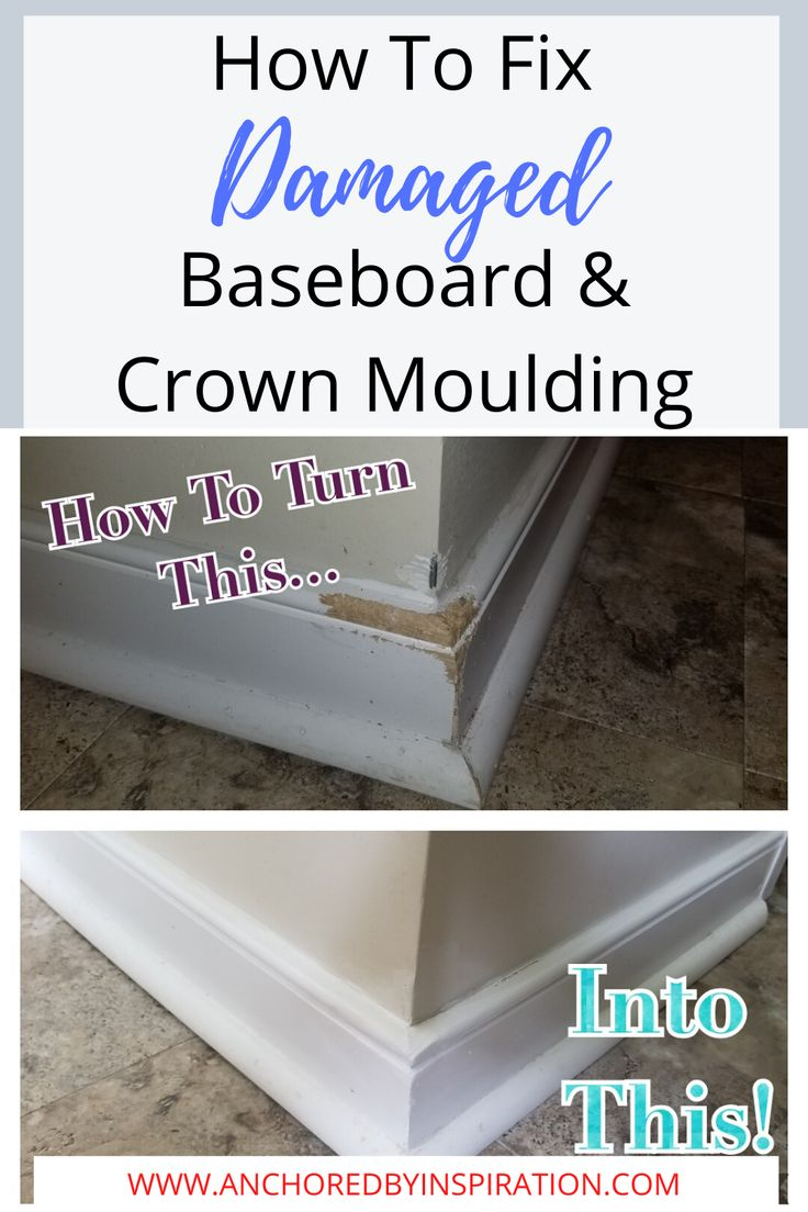 How to fix damaged baseboardmoulding anchored by