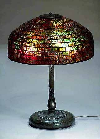 "#Tiffany Studios -- Leaded glass shade -- Bronze ""Pineapple"" Base -- Circa 1900"