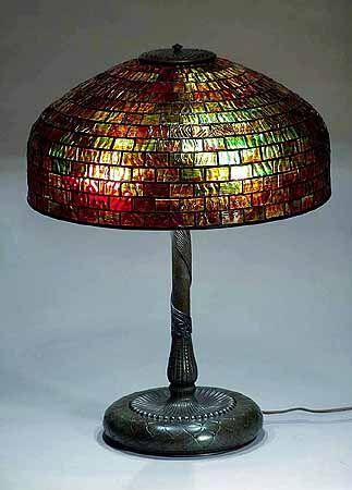 "#Tiffany Studios  --  Leaded glass shade  --  Bronze ""Pineapple"" Base  --  Circa 1900"