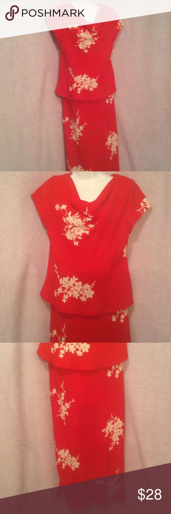 RED Occasion Dress Red with white floral design. Drape neck, short sleeve. Looks like 2 piece, top is lined. Great for wedding parties or spring galas. Coldwater Creek Dresses