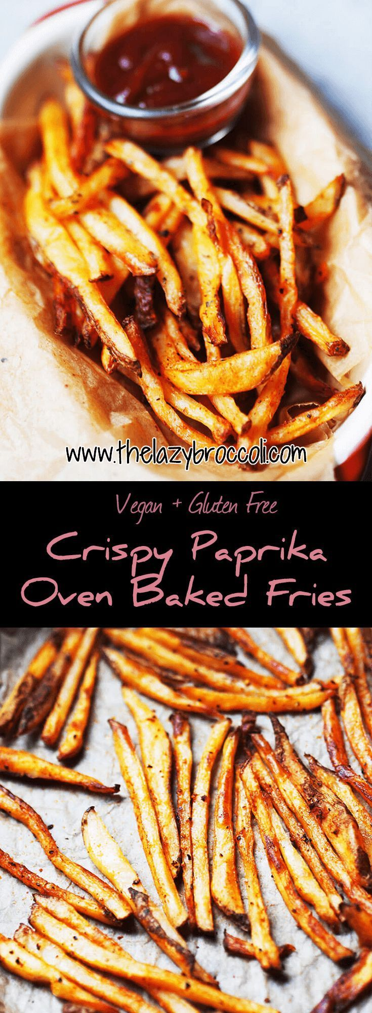 This Crispy Paprika Oven Baked Fries is both crispy and smoky - doesn't that sound just awesome? It's easy too, you just gotta make the oven work for you. Say goodbye to deep fry! #vegan #glutenfree #vegetarian #fries #oven #baked #roasted #recipe #food #noonionnogarlic #crispy #smoky