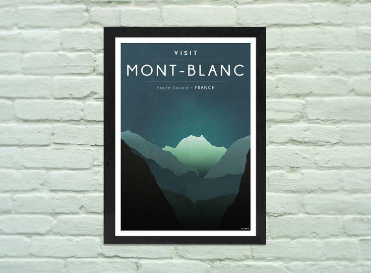 Poster A4 : VISIT MONT-BLANC, affiche, vintage, décoration, : Affiches, illustrations, posters par romk