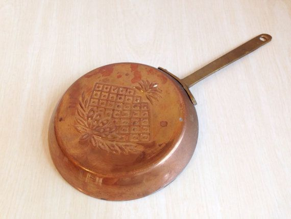 Vintage Copper Plated Frying Pan Skillet by FreedomBirdVintage