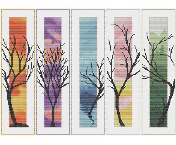 Five Trees - Counted Cross Stitch Pattern by HornswoggleStore, $5.00 (pretty, nature, spring, summer, autumn, winter, landscape, scenery, modern)