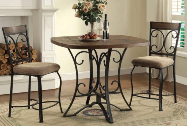 Acme Furniture - Hakesa 3 Piece Counter Height Table Set in Antique Black - 72255-3SET