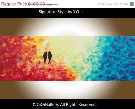"""36"""" Oil Painting Original Painting Abstract landscape Painting Impasto birds on wire Romantic art """"The Kiss"""" by qiqigallery"""