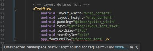 Android Studio showing app:fontFamily as error