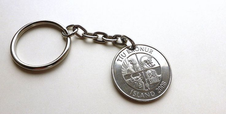Iceland, Coin keychain, Fish keychain, Nautical keychain, Men's accessory, Men's gift, Keychains, Gifts for him, Capelin, Coin, Charms, 2008 by CoinStories on Etsy