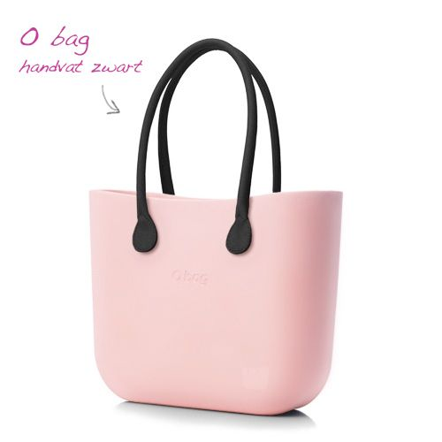 kunststof tas O bag body roze handvat zwart