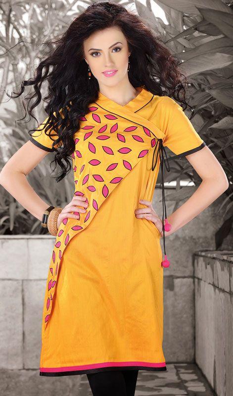 Designer Yellow Dupioni Raw Silk Kurti #Designer-Kurtis-Online? #Designer-Kurtis Price: British UK Pound £43, Euro52, Canada CA$78 ,Indian Rs.3888