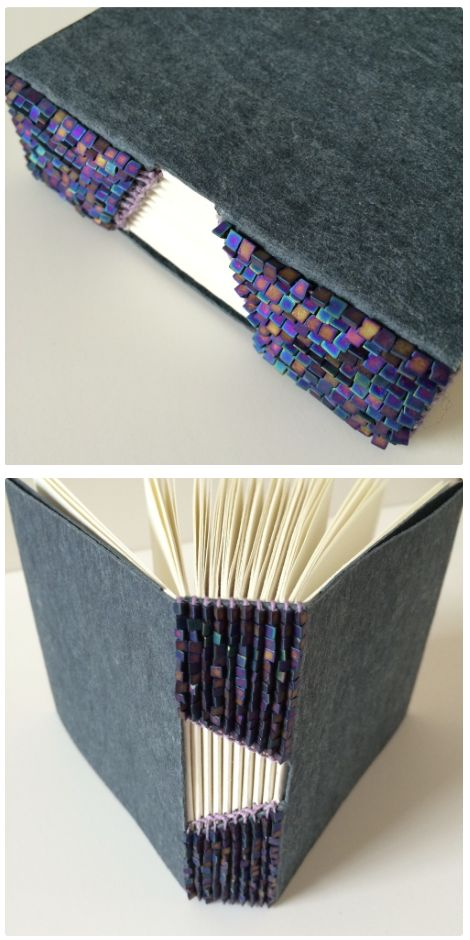 Buttonhole Binding No.4 by Bari Zaki with japanese seed beads - #bookbinding