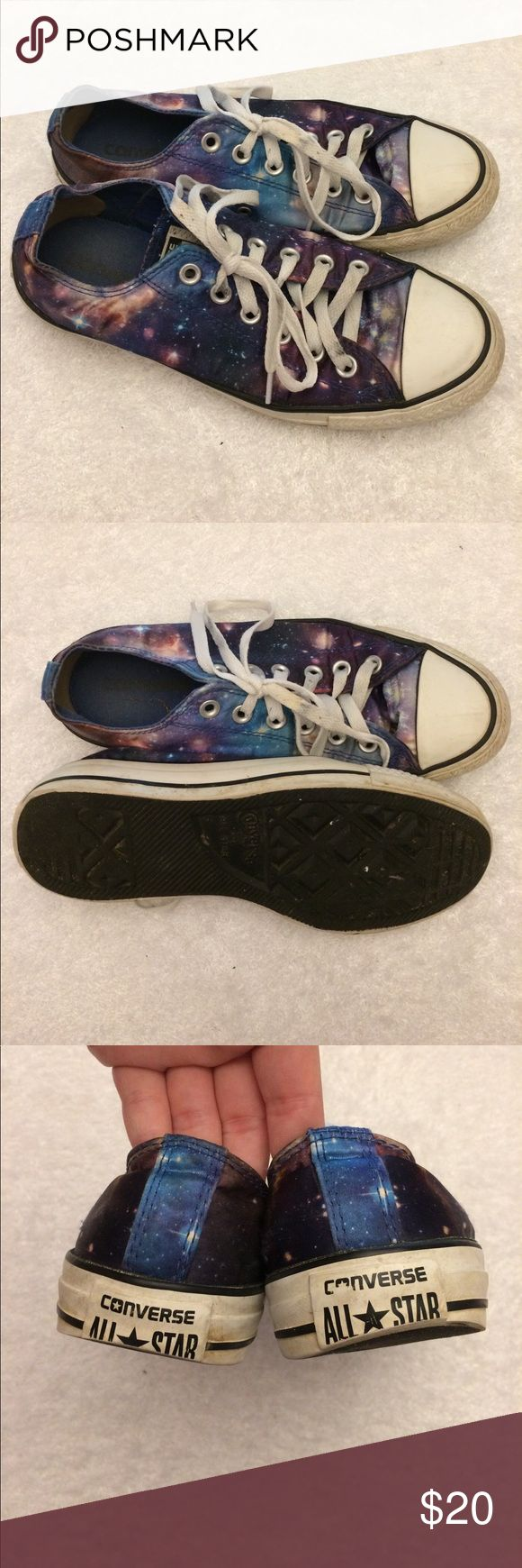 "Galaxy Converse size women's 8 Galaxy Converse All Stars ""chucks"" size 8 women's/ 6 men's! Have been worn regularly but have a lot of life left in them! They have a heel patch to protect from blisters. Converse Shoes Sneakers"