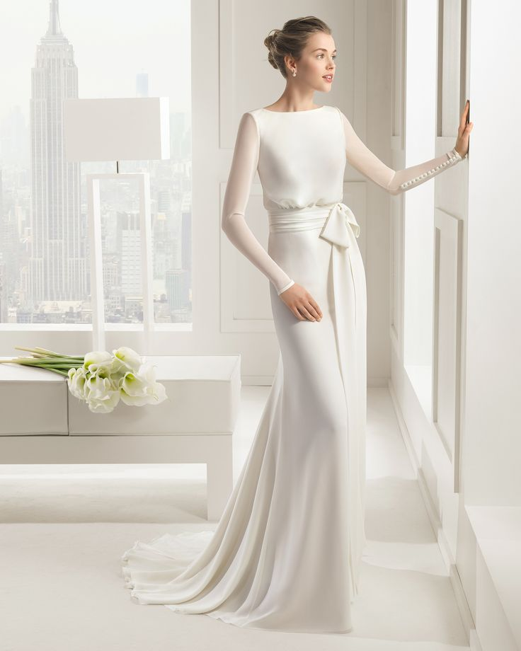 Robe de mariée, manches longues, noeud, tsniout, modest wedding dress, long-sleeved Sal, Rosa Clara 2015