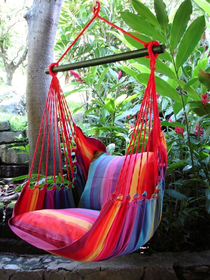 LazyRezt Hanging Chair XL colour #160 [XL] This hammock chair is made in cheerful colours and comes with a 110cm wide wooden spreader.