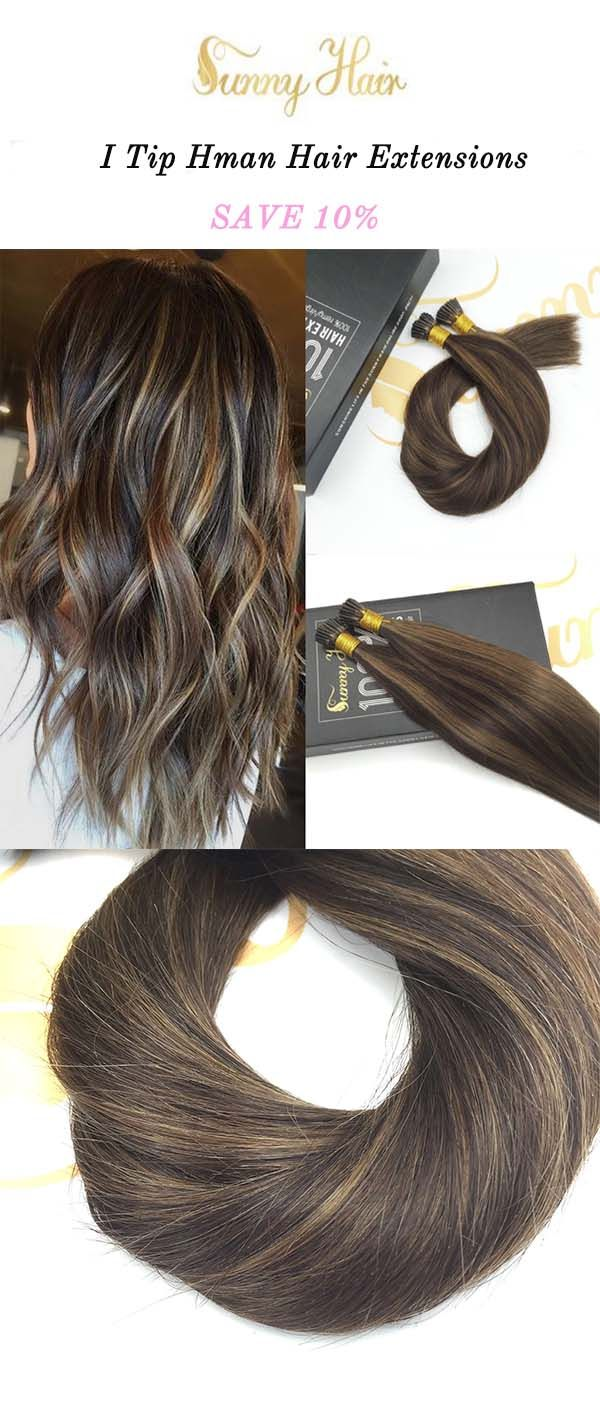 sunny hair  100% remy human hair extensions i tip, brown mixed hair piano color.https://g-sunny.com/collections/i-tip-hair-extension