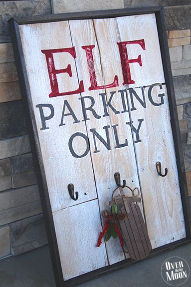 Rustic Elf Parking Pallet Sign Tutorial: Pam from @overthebigmoon share this tutorial for a Rustic Elf Parking Pallet Sign! Elf season is near and it's one of the kids most favorite part of the Holiday season! She incorporate the fun onto the porch, and created this sign out of an old pallet she had on hand! http://www.rustoleum.com/product-catalog/consumer-brands/universal/universal-metallic-spray-paint