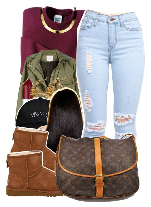 """12/9/15"" by xtaymaxlovesxmisfitx ❤ liked on Polyvore featuring Gildan, Joie, M.A.C, Melody Ehsani, October's Very Own, UGG Australia, Louis Vuitton and ASAP"