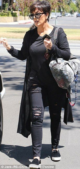"Kris Jenner picks up a load of weight loss meals ahead of daughter Kim's nuptials | Daily Mail Online "" Dark side: She donned her signature all black look including long sweater, top, ripped skinny jeans, and a pair of slip-on sneakers The star also carried a $3,400 graffiti printed Chanel backpack embellished with multicoloured ropes."" Published: 23:29 GMT, 2 May 2014"