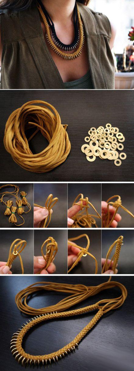 Washers and cord braided necklace - 朋克项链又出炉咯!…_来自原创钉子户的图片分享-堆糖网