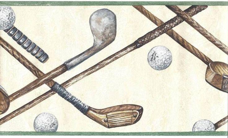 Golf Balls & Clubs Lattice on Beige Wallpaper Border