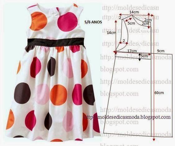 Plantillas de moda para la medida: Vestido de los cabritos 5/6 años - 1: