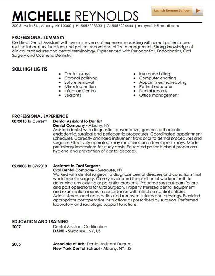 dental assistant resume example - Resume For Dentist