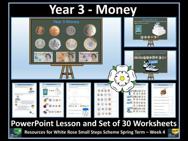 Year 3 Money - PowerPoint Lesson and Set of 30 Worksheets For White Rose Maths' Scheme