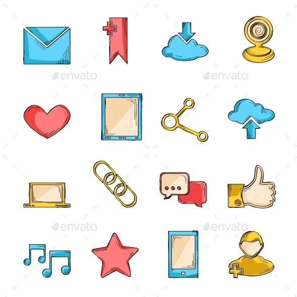 Social Network Icons Sketch