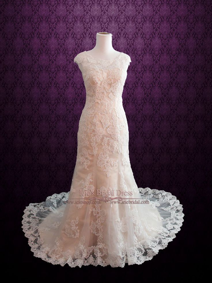 Modest Vintage Lace Champagne Wedding Dress with Cap Sleeves Ieie Bridal,  #LaceWeddingDress http://www.ieiebridal.com/collections/modest-wedding-gowns