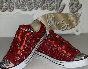 bbebe3dd1e3f3 Kids Red/White/Clear Rhinestone Bling All Star Chuck Taylors ...