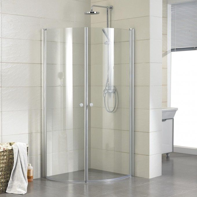 34 X 34 Halvor Round Corner Shower Enclosure Bathroom Corner Shower Shower Enclosure Corner Shower Kits