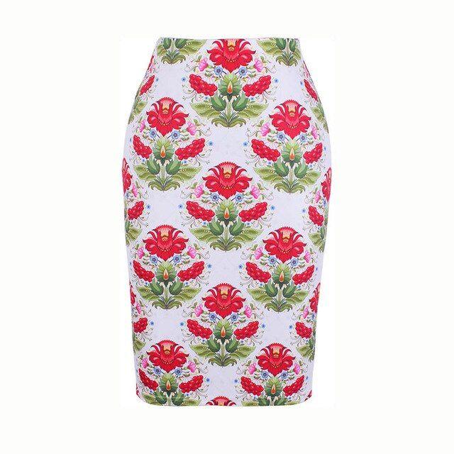 Women pencil skirt s4xl geometric floral print midi bottoms big size bodycon fal…