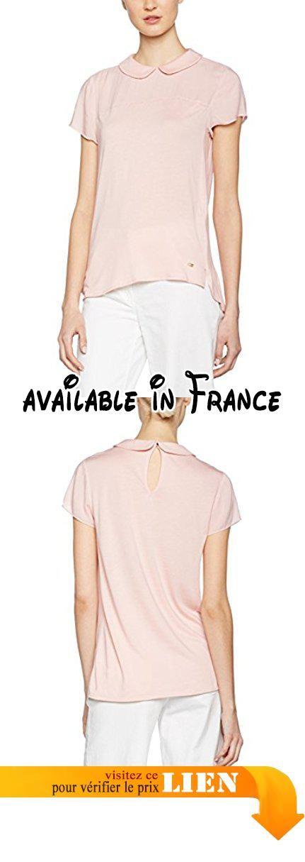 B01N4KKQE7 : Tommy Hilfiger Caitlin Collar NK Top NS Short Femme Blanc  (Rose Smoke)