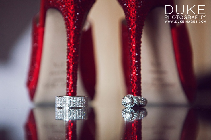 Sparkling red shoes & wedding rings