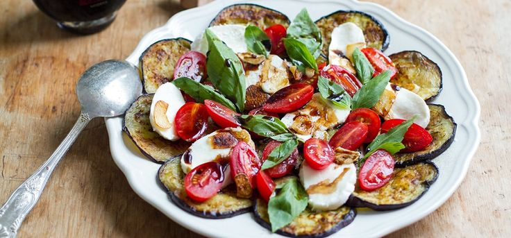 My aubergine Caprese salad is a fancy take on the Italian classic. With more flavour and punch from fried garlic and balsamic, this is one tasty, nutritious meal.
