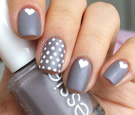 Cute and easy dots and hearts nail art