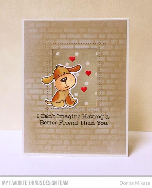 Stamps: Furever Friends Card Kit Die-namics: Furever Friends Card Kit, Rectangle Peek-a-Boo Window Stencil: English Brick Wall Donna Mikasa #mftstamps