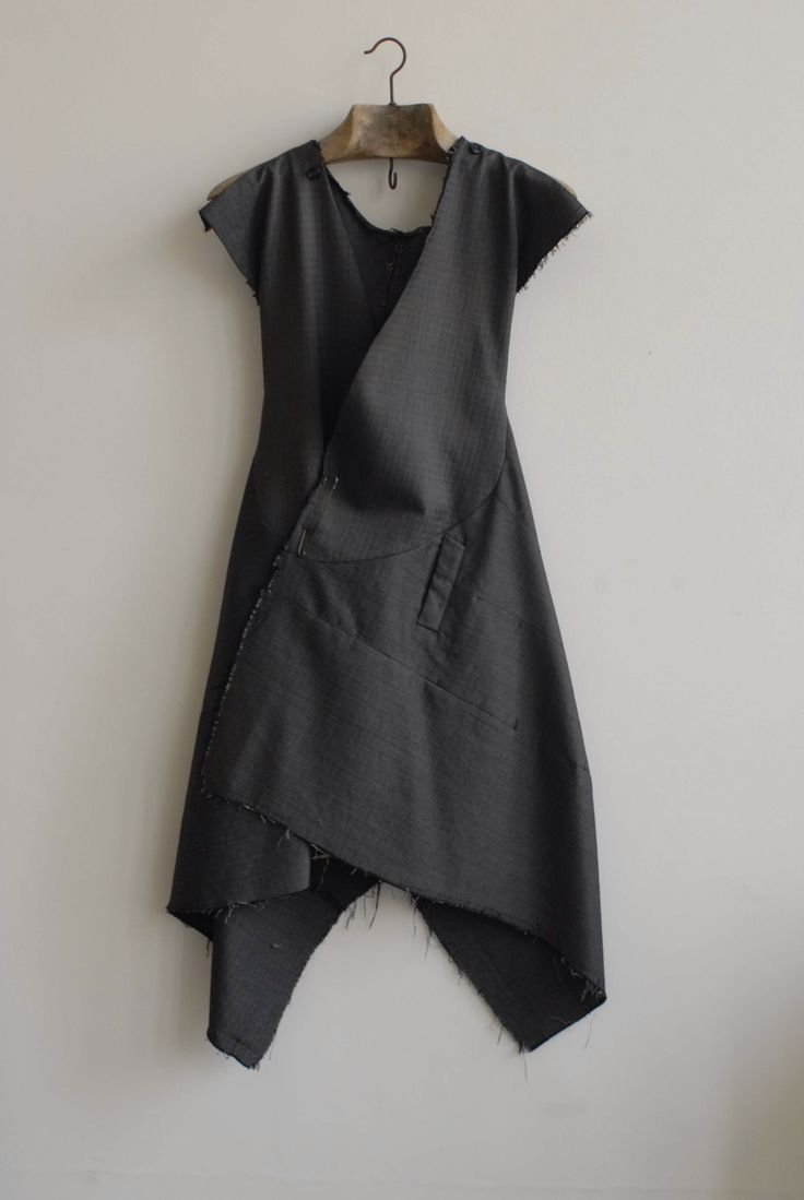 pulled back grey dress...