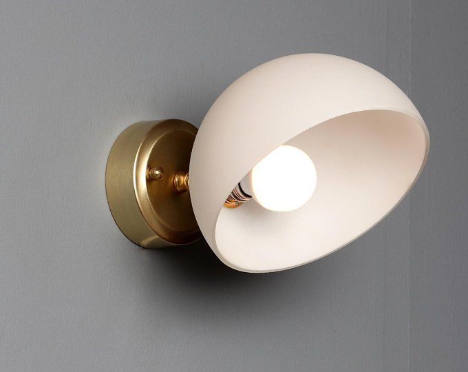 Ring Gold Mat Brass Wall Sconce Globe Sconce Minimal Sconce Etsy Brass Wall Sconce Globe Sconce Mid Century Sconce