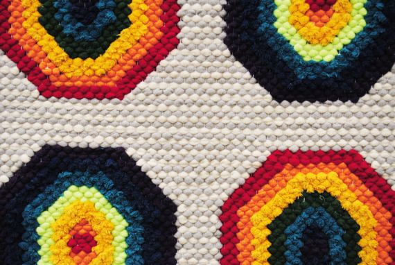 Rainbow rug Geometric are rug hand embroidered rug Kids