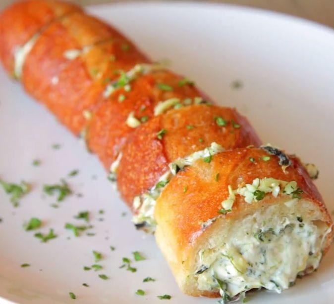 Spinach Artichoke Dip Stuffed Garlic Bread (BuzzFeed Food)