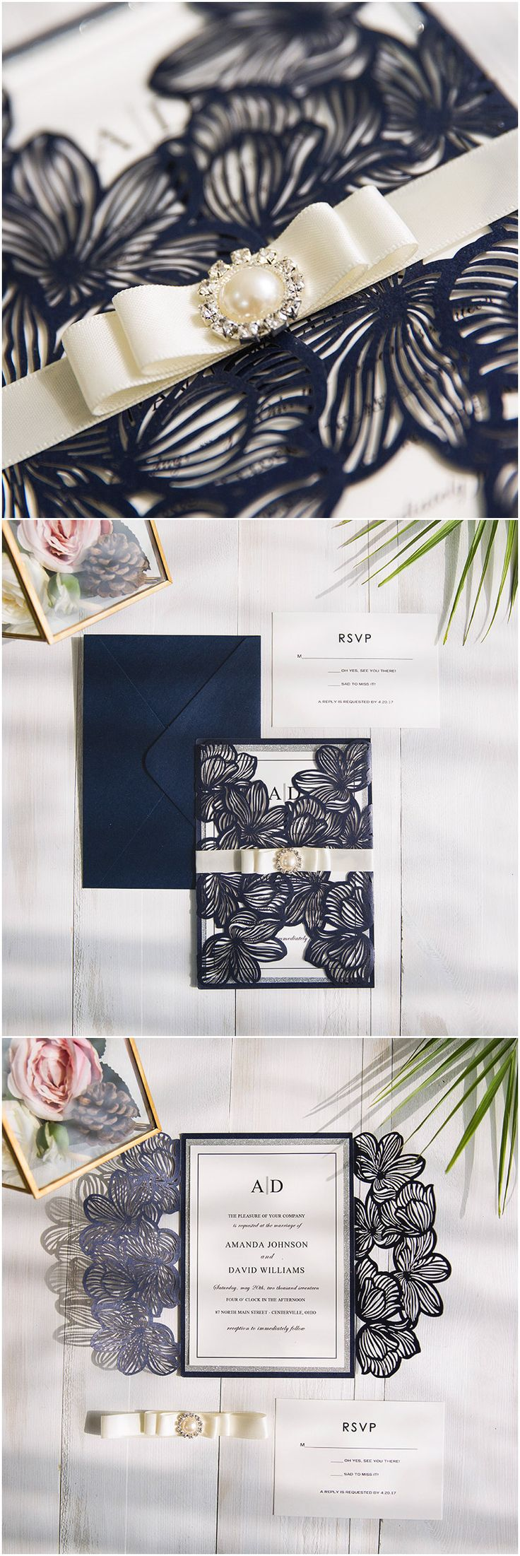 elegant deep navy blue and ivory laser cut wedding invitations with silver layered paper