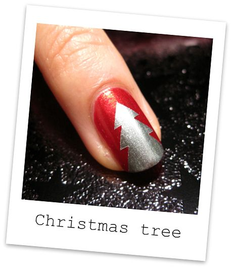 DIY Christmas tree taped manicure (not sure I would actually do this, but the idea is kind of cute)