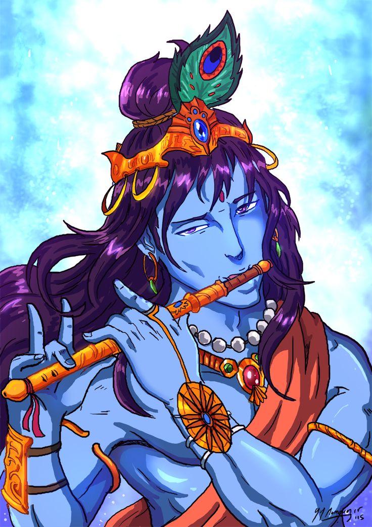 My Anime Style Lord Krishna Portrait by JazylH.deviantart.com on @DeviantArt