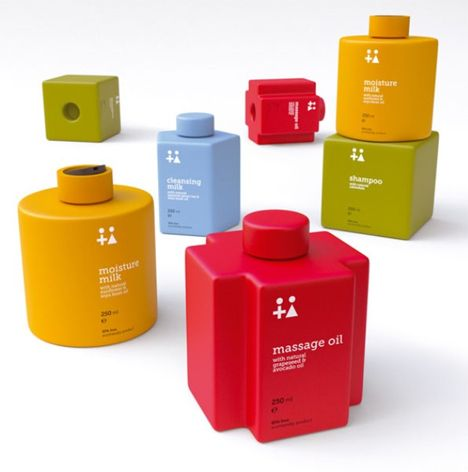 minimalist LEGO-like toiletry bottles