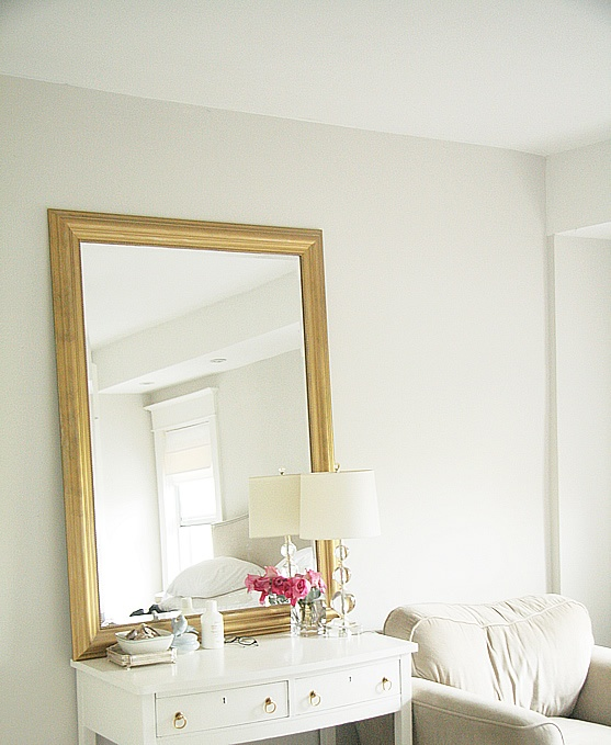 Gold mirror above white dresser bedroom home is where for White and gold mirror
