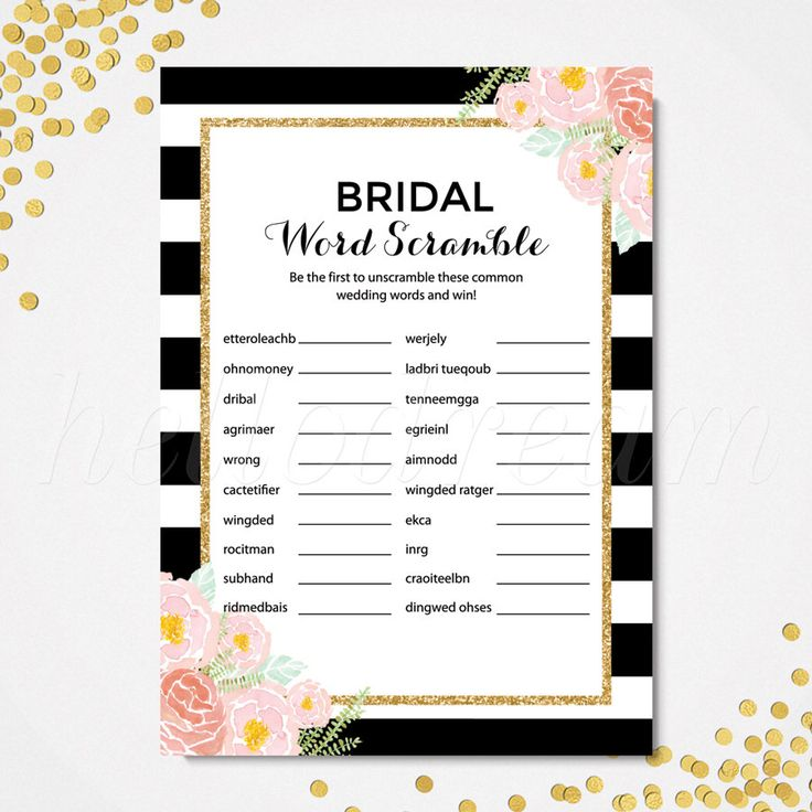 Black And White Bridal Word Scramble Game Pink Floral Wedding Shower Search