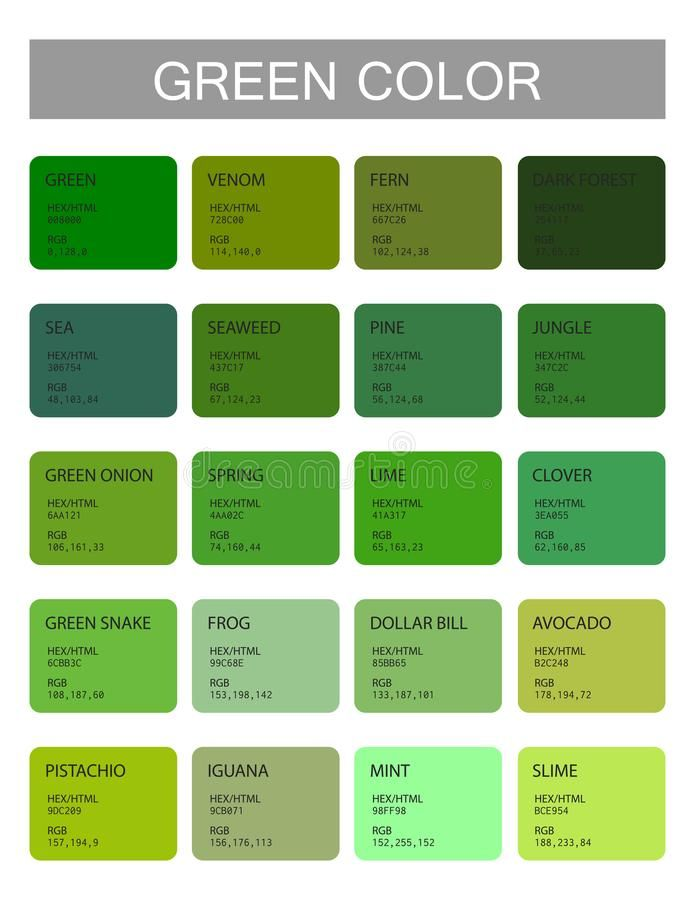 Green Tone Color Shade Background Code Name Stock Illustrations