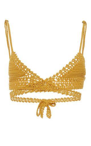 Cotton Crochet Wrap Triangle Bikini Top by SHE MADE ME Now Available on Moda Operandi